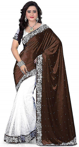 Chocolate Colour Women's Velvet Embroidered Saree with Blouse Piece