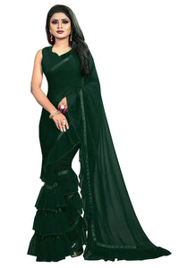 Bottle Green Color Georgette Ruffle Frill Saree With Blouse Piece