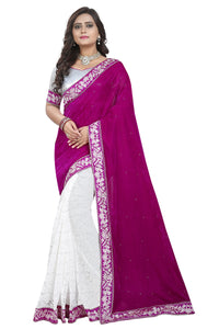 Pink Colour Women's Velvet Embroidered Saree with Blouse Piece