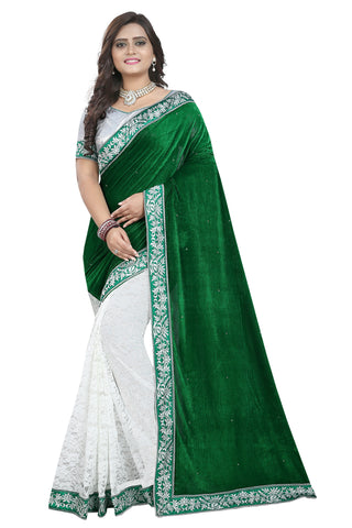 Green Colour Women's Velvet Embroidered Saree with Blouse Piece