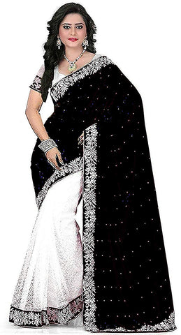 Black Colour Women's Velvet Embroidered Saree with Blouse Piece