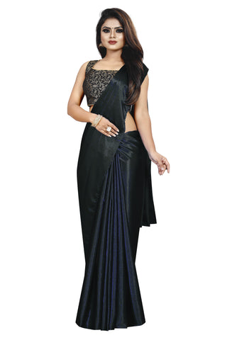 Black Colour Women's Satin Silk Saree With Boluse Piece