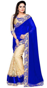 Blue Colour Women's Georgette Embroidered Saree With Blouse Piece