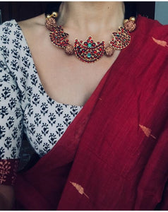 Maroon Colour Cotton Silk Saree With Blouse Piece