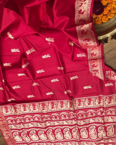 Red Colour Women's Cotton Sillk saree With Blouse Pices