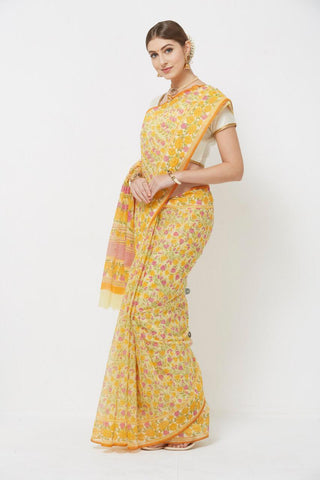 Yellow Colour Designer Printed Saree With Blouse Pices