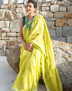 Yellow Colour Women's Cotton Sillk Saree With Blouse Pices