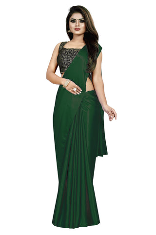 Green Colour Women's Satin Silk Saree With Boluse Piece