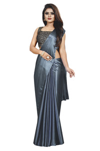 Grey Colour Women's Satin Silk Saree With Boluse Piece