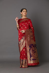 Red Colour Women's Cotton Silk Saree With Blose Pices