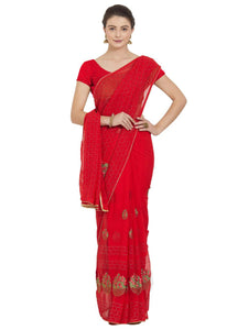 Red Colour Women's Georgette Saree With Blouse Pices