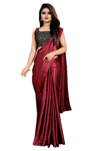 Maroon Colour Women's Satin Silk Saree With Boluse Piece