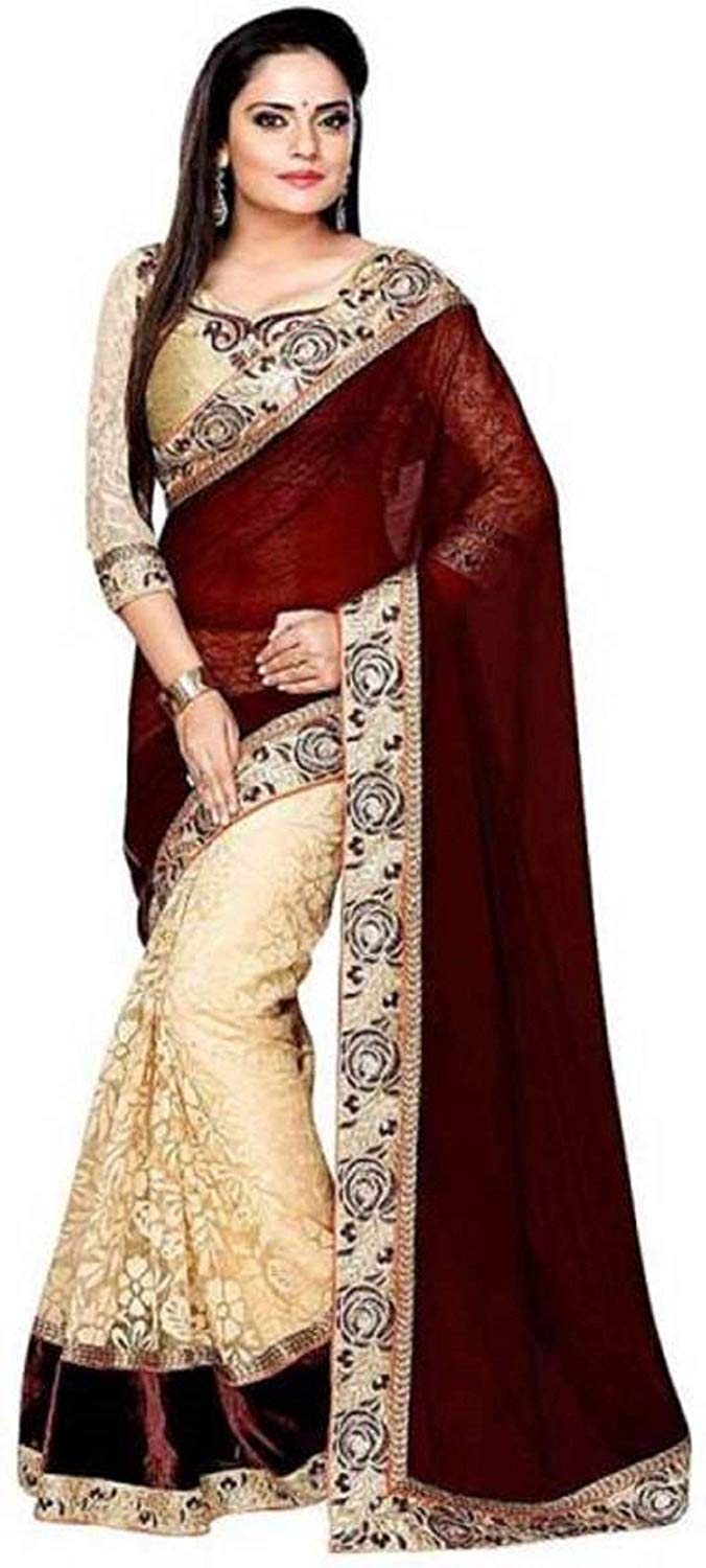 Maroon Colour Women's Georgette Embroidered Saree With Blouse Piece