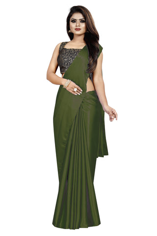 Mehendi Colour Women's Satin Silk Saree With Boluse Piece