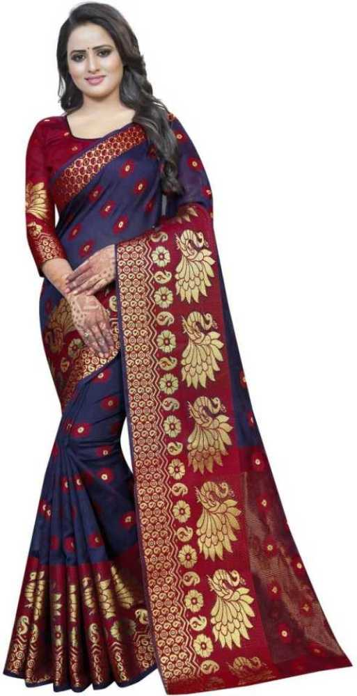 NavyBlue Red Women's Banarasi Cotton Silk Saree With Blouse Piece