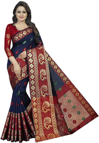 NavyBlue Red  Women's Silk Zari Weaving Saree With Blouse Piece