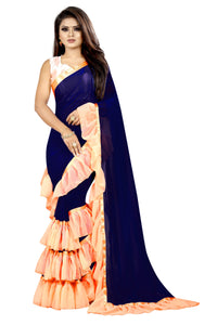 NavyBlue Peach Colour Georgette Ruffle Frill Saree With Blouse Piece