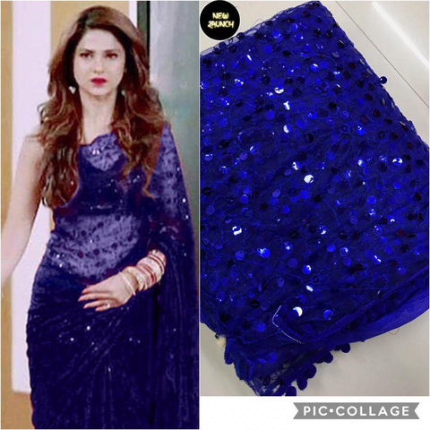 Blue Colour Net Embroidery Work Saree With Blouse Piece