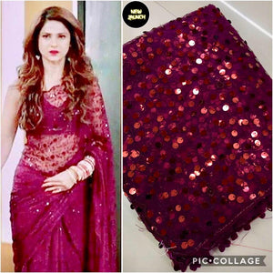 Pink Colour Net Embroidery Work Saree With Blouse Piece
