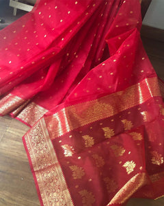 Red Colour Women's Organza Saree Digital Print With Banglori Blouse Pices.