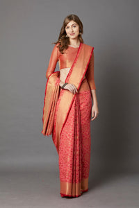 Peach Colour Women's Patola Desigen Cotton Silk Saree With Blouse Pices