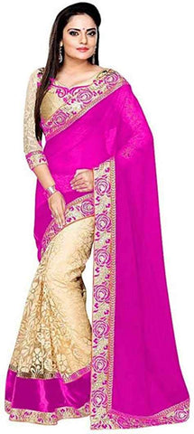 Pink Colour Women's Georgette Embroidered Saree With Blouse Piece
