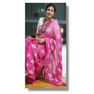 Pink Colour Women's Cotton sillk Saree With Blouse Pices
