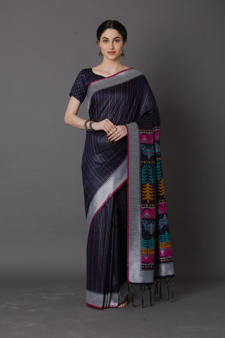 Navy Blue Colour Women's Cotton Silk Saree With Blouse Pices