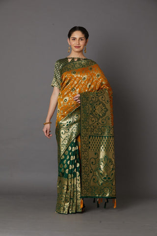 Yellow And Green Women's Cotton Silk Saree With Blouse Pices