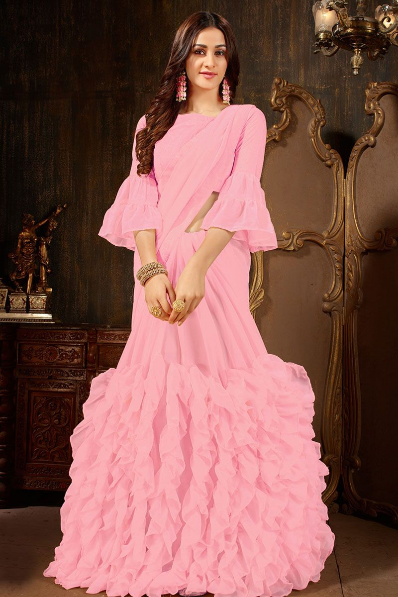 Pink Colour Women's Georgette Ruffle Saree With Blouse Piece