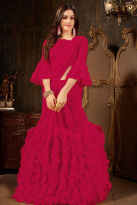 Red  Colour Women's Georgette Ruffle Saree With Blouse Piece