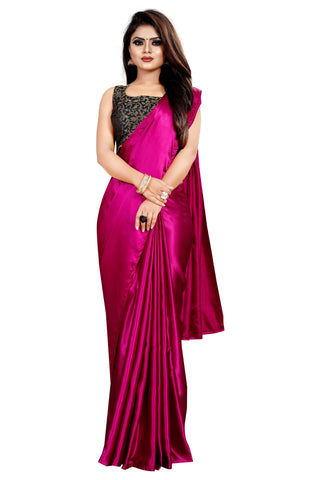 Magenta Colour Women's Satin Silk Saree With Boluse Piece