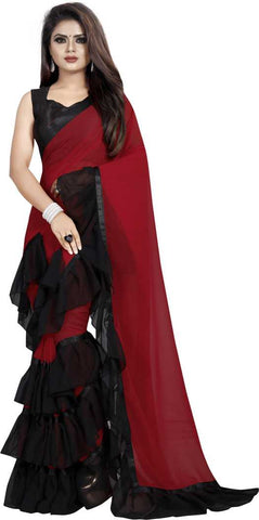 Red Black Colour Georgette Ruffle Frill Saree With Blouse Piece
