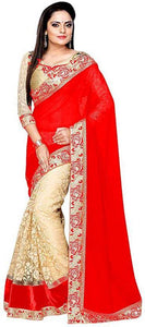 Red Colour Women's Georgette Embroidered Saree With Blouse Piece