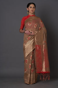 Red And Beige Colour Women's Cotton Silk Saree With Blouse Pices