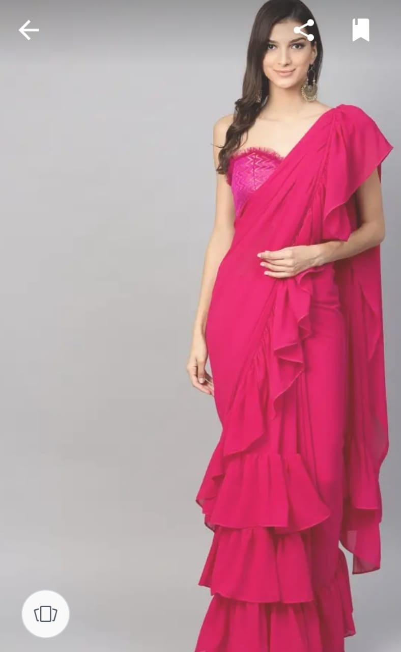 Amazing Pink Georgette Ruffle Frill Saree with Blouse Piece