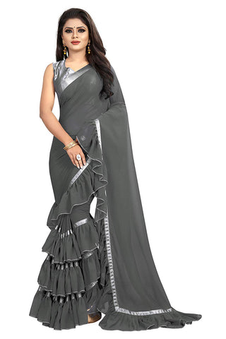 Grey Color Georgette Ruffle Frill Saree With Blouse Piece