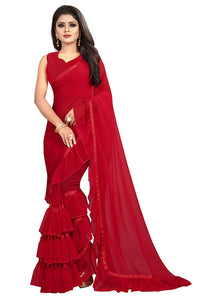 Red Color Georgette Ruffle Frill Saree With Blouse Piece