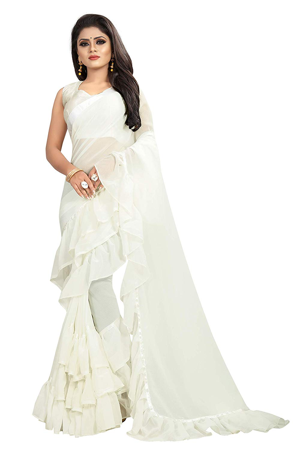 White Color Georgette Ruffle Frill Saree With Blouse Piece