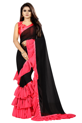 Black Gajari  Colour Georgette Ruffle Frill Saree With Blouse Piece