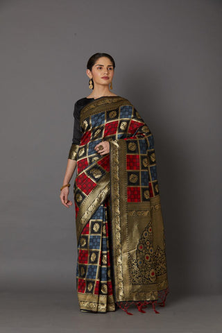 MultiColor Banarasi Silk Saree With Blouse Piece