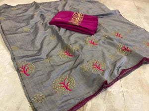 Grey Women's Embroidered Work Tree Saree With Benglori Silk Blouse Piece