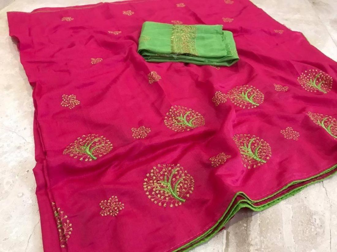 Pink  Women's Embroidered Work Tree Saree With Benglori Silk Blouse Piece