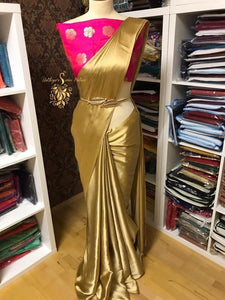 Golden Colour Women's Satin Silk Saree With Boluse Piece