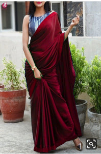 Maroon Colour Plain Satin Silk Saree With Designer Blouse