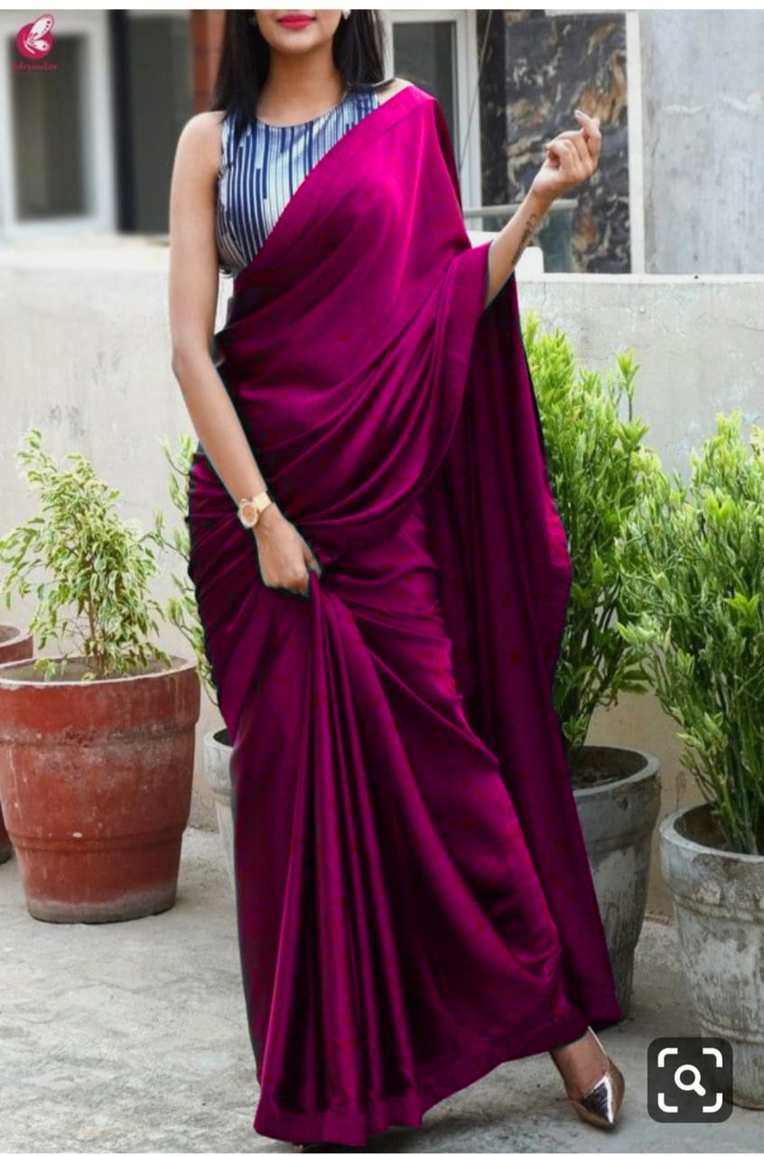 Magenta Colour Plain Satin Silk Saree With Designer Blouse