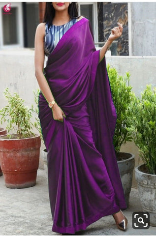 Wine Colour Plain Satin Silk Saree With Designer Blouse