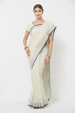 White Colour Women's South Silk Saree With Blouse Pices