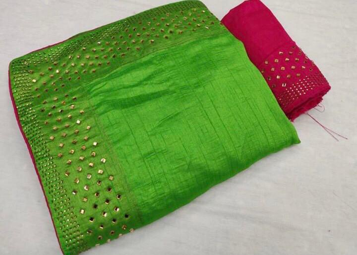Green Colour Women's Latest Sana Silk Stone Studded Saree with Contrast Blouse Piece