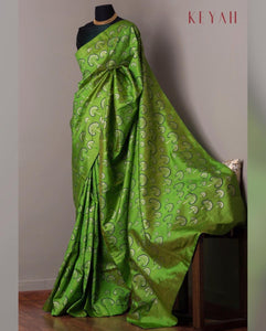 Green Colour Women's Cotton sillk Saree With Blouse Pices
